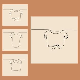 女性のtシャツのベクトル図の連続線画