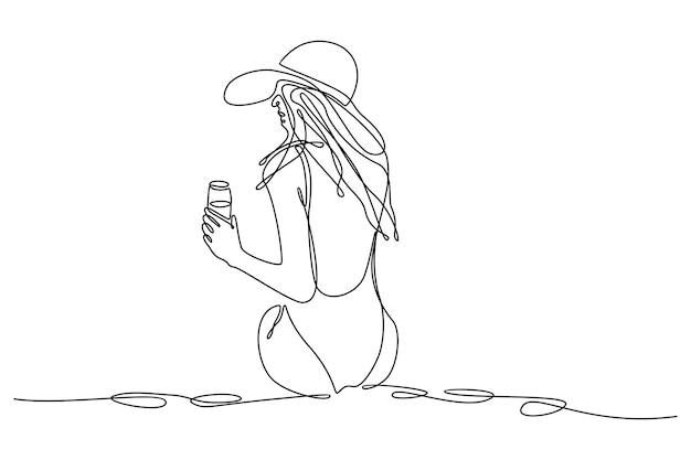 Непрерывный рисунок линии кожаной офисной сумки векторная иллюстрация