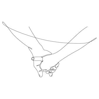 서로를 잡고 있는 남성과 여성의 손의 연속 선 그리기 낭만적인 개념 벡터