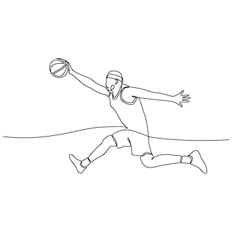 Непрерывный рисунок линии мужского профессионального баскетболиста, изолированного с концепцией фитнеса с мячом