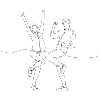 Непрерывный рисунок линий мужчин и женщин, празднующих прыжками векторные иллюстрации