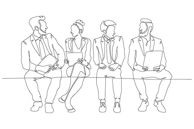 Непрерывный рисунок линий мужчин и женщин, сидящих в очереди на интервью векторная иллюстрация