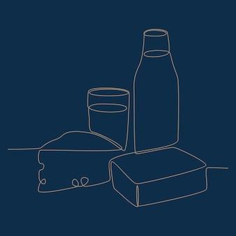 우유 빵과 치즈 아침 메뉴 벡터 일러스트 레이 션의 연속 선 그리기
