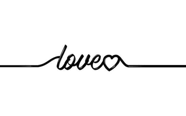 하나의 하트와 love라는 단어의 연속 선 그리기, 사랑 개념의 흑백 벡터 미니멀리즘 삽화.