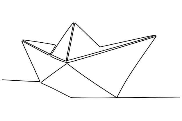 紙の船のベクトル図の連続線画