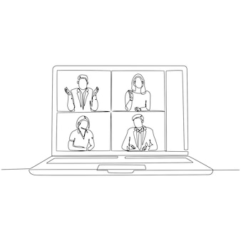 노트북과 함께 화상 통화를 하는 사람들의 연속 선 그리기 벡터 일러스트레이션
