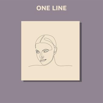 아름다운 여자의 얼굴의 초상화의 연속 선 그리기