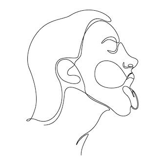 Непрерывный рисунок линии портрета женщины лицо векторные иллюстрации