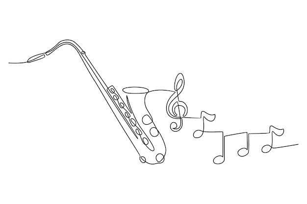 악기 벡터 일러스트와 함께 색소폰 악기의 연속 선 그리기