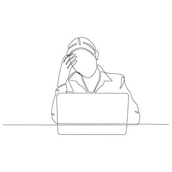 Непрерывный рисунок линии подчеркнутой женщины, стоящей перед работой векторные иллюстрации