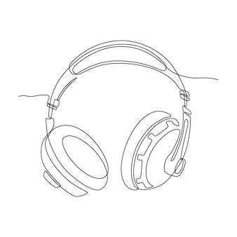 スタジオヘッドフォンまたはイヤホンの連続線画ベクトル図
