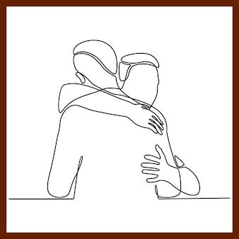 서로 포옹하는 두 사람의 연속 선 그리기 두 젊은이가 서로 포옹