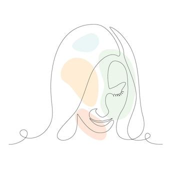 女性の顔の連続線画。ロゴ、エンブレム、tシャツのプリントに抽象的な形をしたエレガントなミニマルアート。ベクトルイラスト