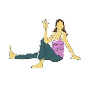 女性のフィットネスヨガベクトル健康イラストとフィットネスエクササイズの連続線画