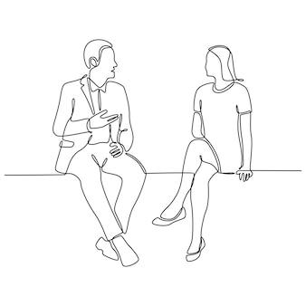 흰색 배경에 격리된 대화를 나누는 젊은 남녀의 연속 선 그리기