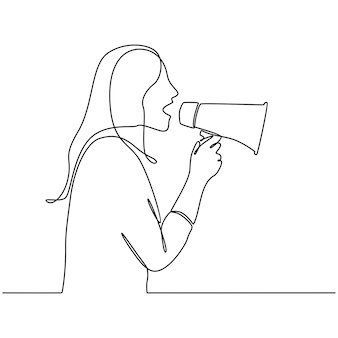 白い背景のベクトル図にメガホンと若い女性の連続線画