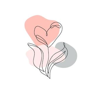 Рисование непрерывной линии. однолинейный цветок в форме сердца. современное линейное искусство на белом фоне