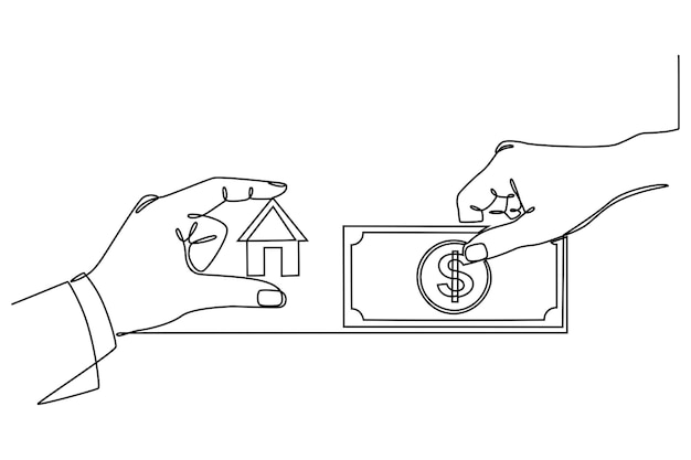 Continuous line drawing paying the house bill or buying a house vector