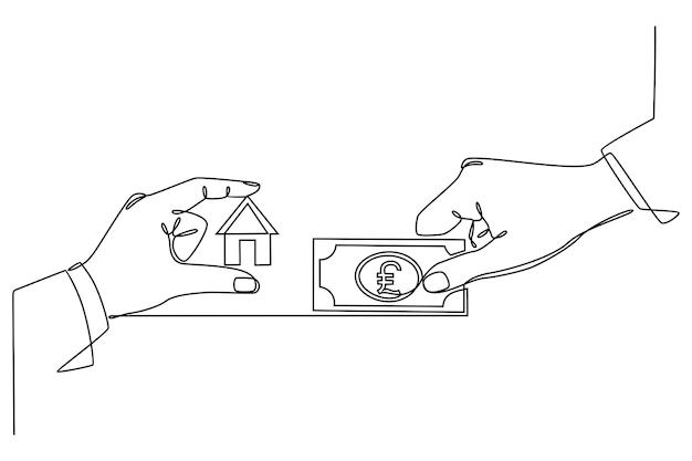 Непрерывный рисунок линии оплата счета за дом или покупка дома вектор