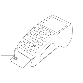 Continuous line drawing of payment terminal with credit card vector illustration