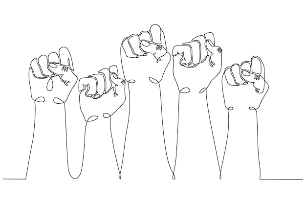 Continuous line drawing people clenched for their rights and screamed concept of revolution