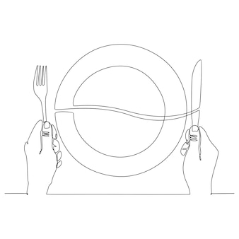 Continuous line drawing of plate by hand with knife and fork vector illustration