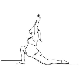 Непрерывный рисунок линии беременная женщина практикующих беременность движение йоги йога концепция вектор ил