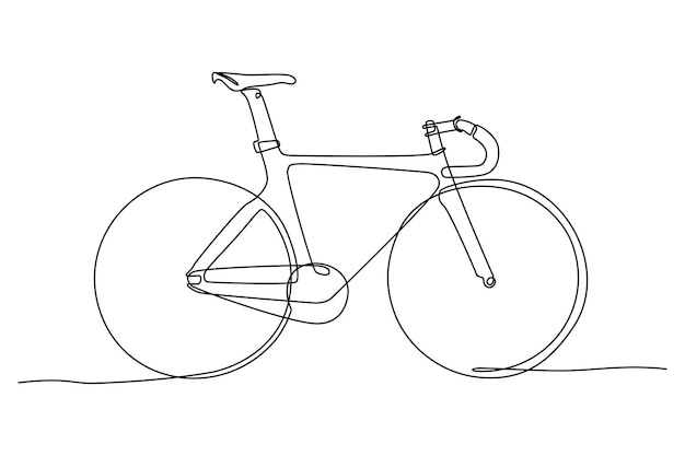 Continuous line drawing of racing bicycle vector illustration