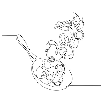 Continuous line drawing of restaurant food preparation process frying pan with seafood prawns