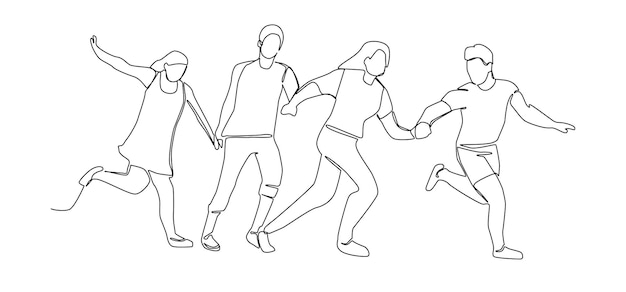 Continuous line drawing running happy people. one line characters silhouette man and woman. vector illustration
