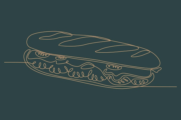 Continuous line drawing of sandwich vector illustration