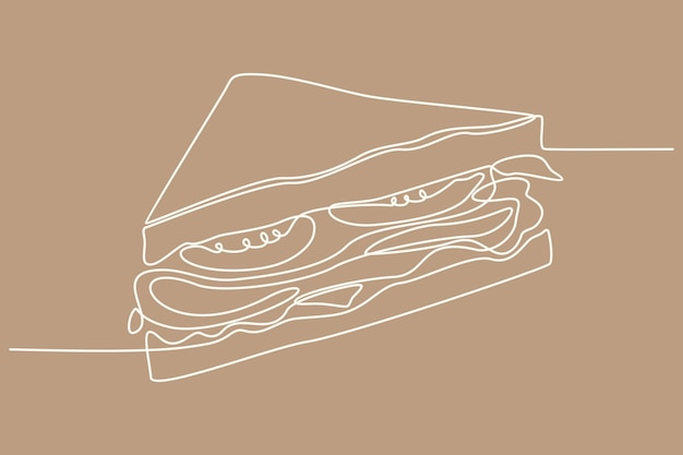 Continuous line drawing sandwich vector illustration