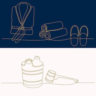 연속 선 그리기 사우나 및 목욕 장비 및 액세서리 세트 목욕 및 스파 디자인 요소
