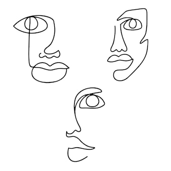 연속 선 그리기 세트. 추상 여자 초상화입니다. 한 줄 얼굴 예술 그림.