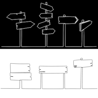 Continuous line drawing of set of signposts vector illustration