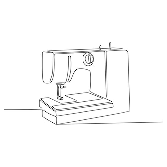 Continuous line drawing of sewing machine vector illustration