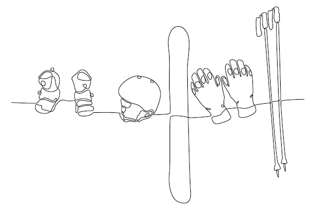 Continuous line drawing of ski equipment vector illustration