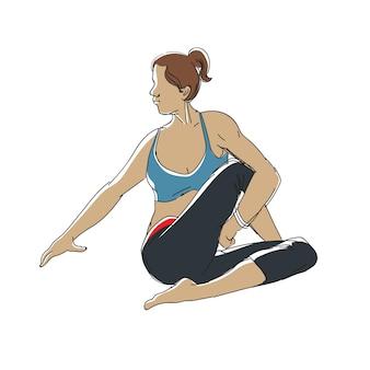 연속 선 그리기 요가 피트니스 운동을하는 날씬한 낚시를 좋아하는 젊은 여성