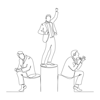 Continuous line drawing of successful businessman vector illustration