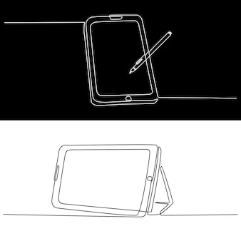 Continuous line drawing of tablet pc with pen pc vector illustration