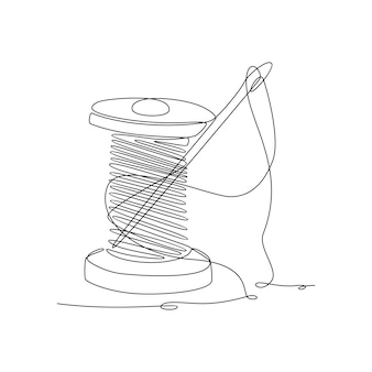 Continuous line drawing of thread spool with needle vector illustration
