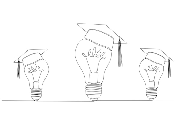 Continuous line drawing of three lights with graduation cap vector