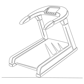 Continuous line drawing of a treadmill fitness tool vector illustration