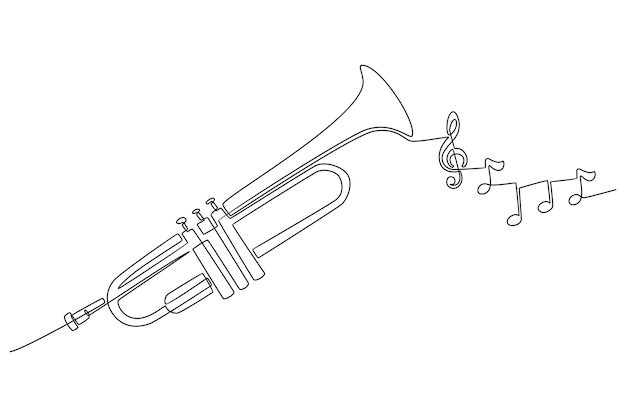 Continuous line drawing of a trumpet musical instrument with instrument tone vector illustration