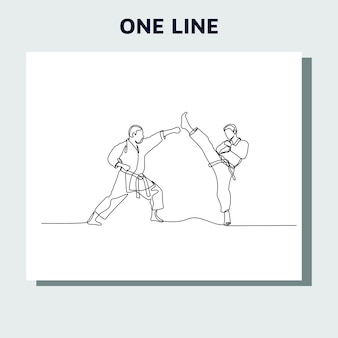 Continuous line drawing of two male karate athletes