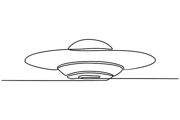 Continuous line drawing ufo vector illustration