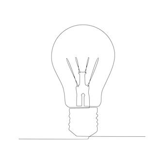 連続線画ヴィンテージ電球コンセプトアイデアベクトルイラスト