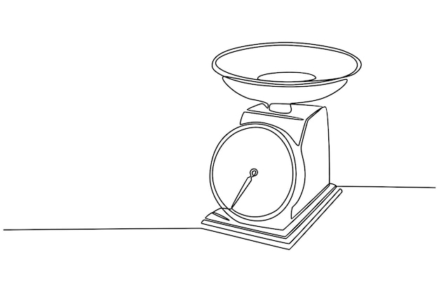 Continuous line drawing of weighing scale vector illustration