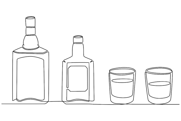 Continuous line drawing of whiskey bottle and glass vector illustration