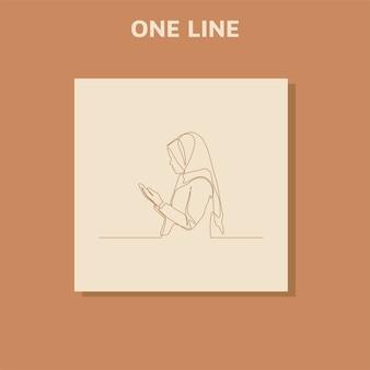 祈りの中で手を上げる女性のシルエットデザインの連続線画